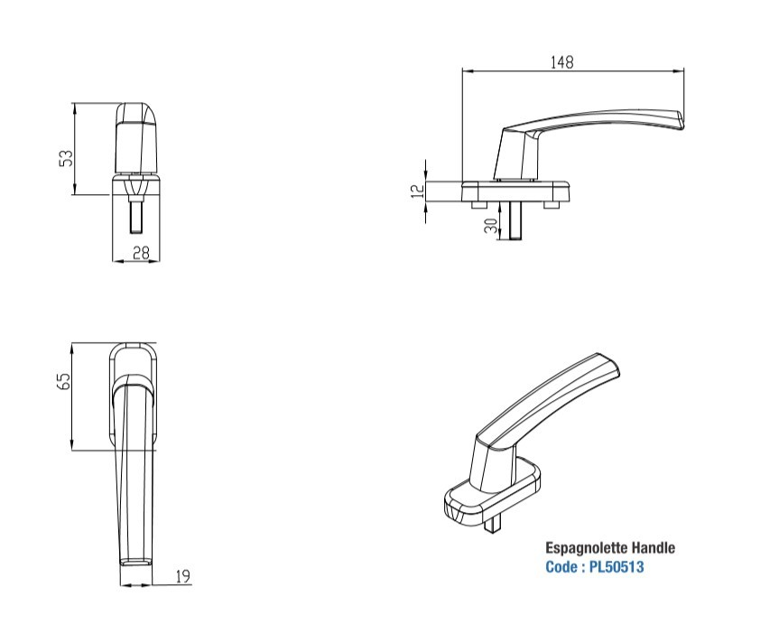 Multipoint Locking Handle for Casement Window Without Key