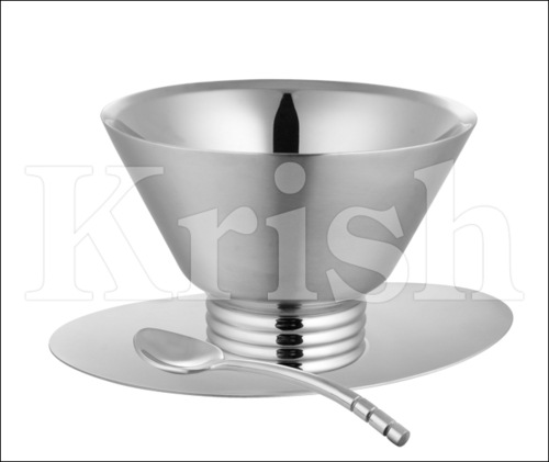 Double Walled Ice Cup with Saucer & Spoon
