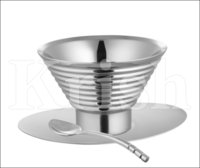 Ribbed Double Walled Ice Cup With Saucer & Spoon