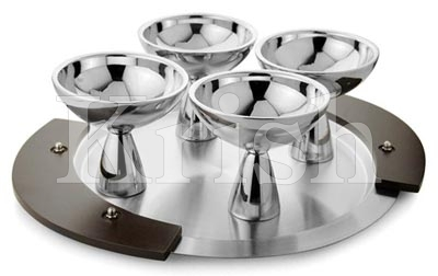 Exquisite Double Walled Ice cream cup set with Tray - 5 Pcs
