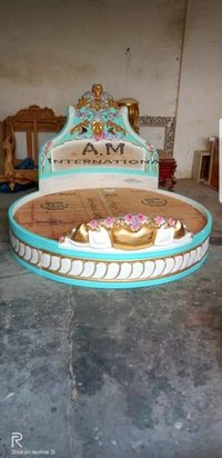 antique round wooden bed