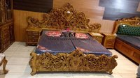 Antique gold wooden bed