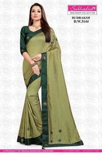 Vichitra Silk Two Tone Bordered Saree
