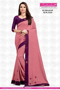 Vichitra Silk Two Tone Bordered Saree