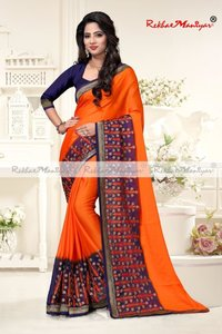 Two Tone Moss Chiffon Embroidery Panel Work Saree