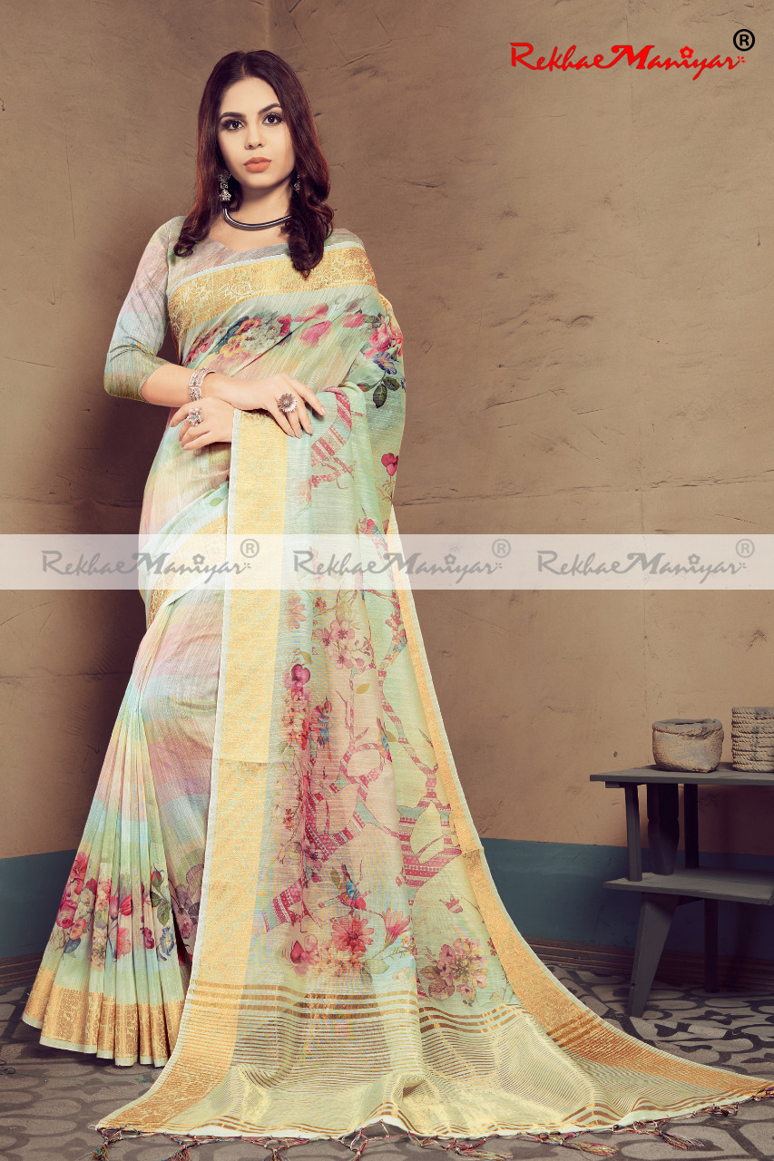 Heavy Linen Digital Printed Saree With Blouse