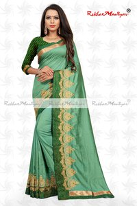 Two Tone  Vichitra Silk Embroidery Work Saree With Blouse