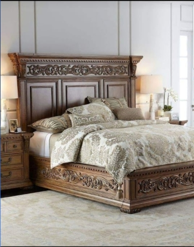 floral carved wooden bed