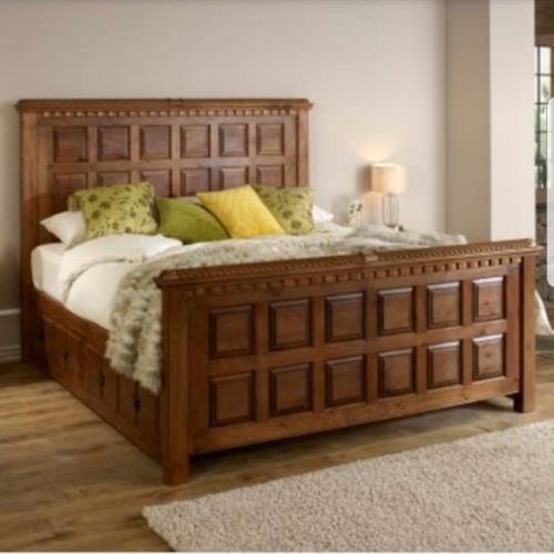 handcrafted teak wood bed