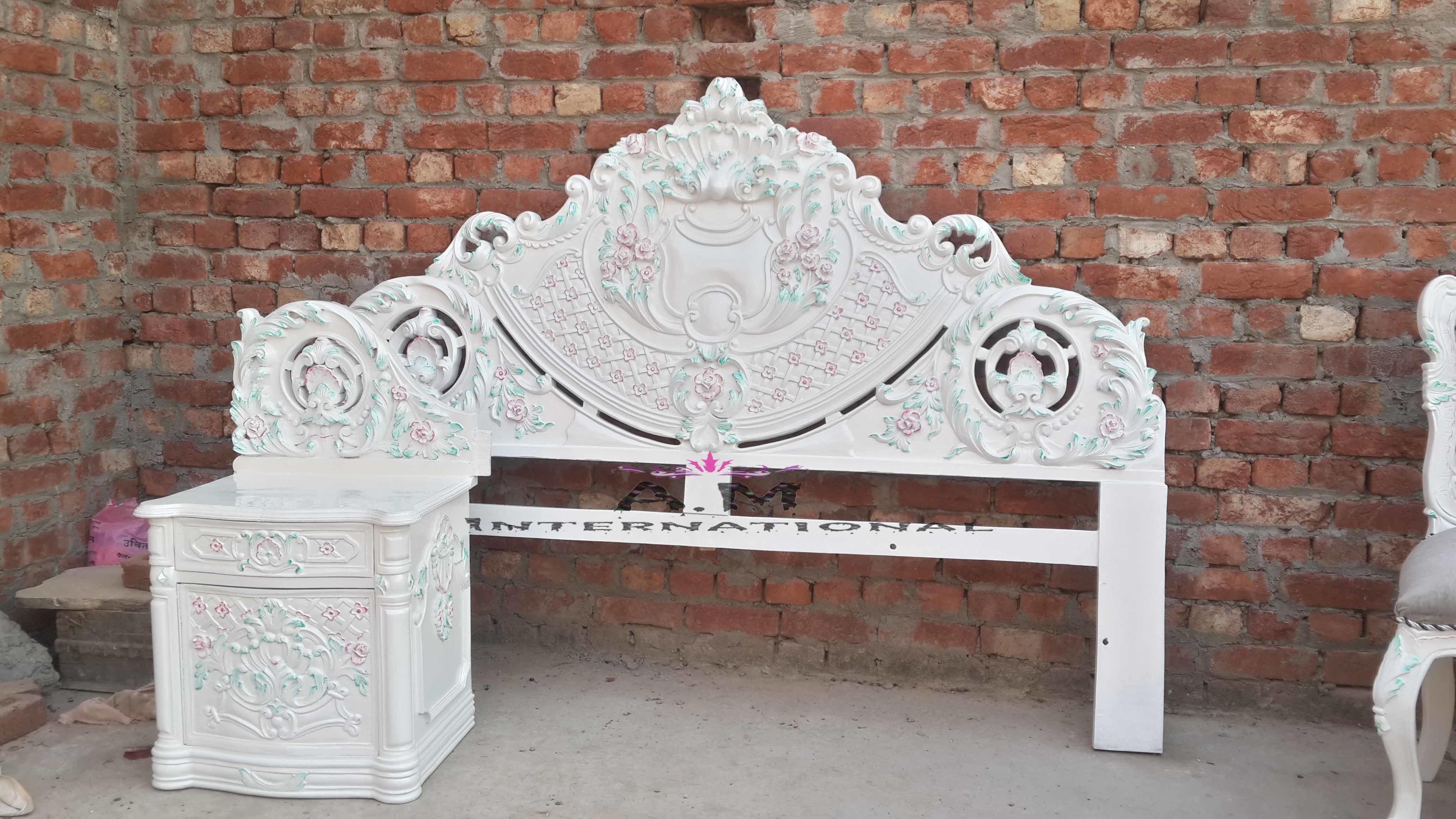 white deco wooden bed header