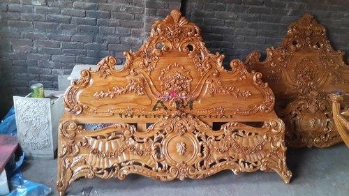 natural teak wooden bed header