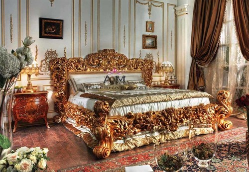 traditional teak wooden bed