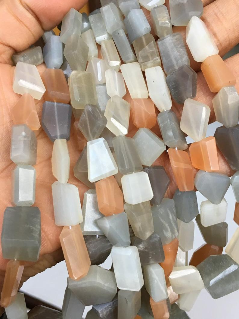 Multi Moonstone Nugget Faceted Beads,multi Moonstone Step Cut Nuggets