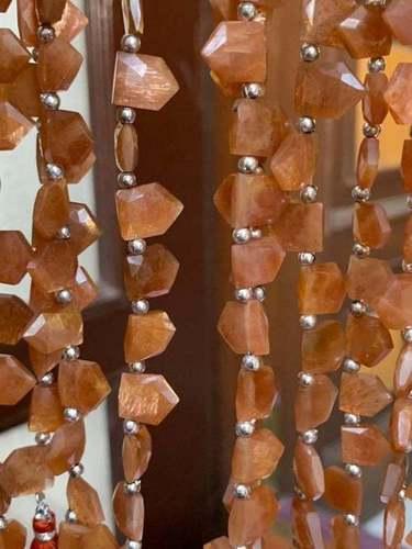 Natural Sunstone Pentagonal Shape Sunstone Beads,high Quality Sunstone Briolette Beads