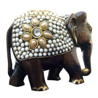 Wooden Elephant Antiqu Stone Work