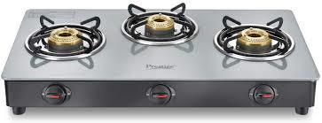 Prestige Jade Gas stove (GTJ 03 with Powder coated body, Glass top, 3 brass burner)