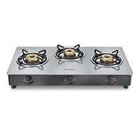 Prestige Jade Gas stove (GTJ 03 with Powder coated body, Glass top, 3 brass burner)