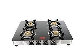 Pigeon by Stovekraft Blaze Blackline Glass 4 Burner Gas Cooktop (Black)