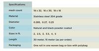 Stainless Steel Mosquito Mesh 304 grade