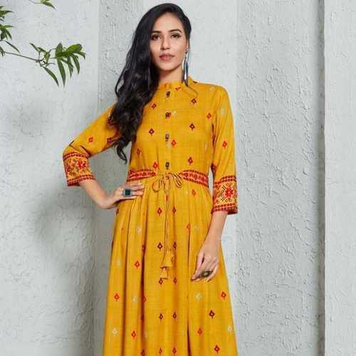 Long Designer Yellow Kurti