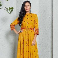 Long Designer Yellow Kurti