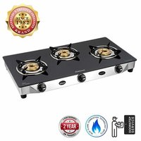 Sunflame Diamond Glass Top 3 Burner Gas Stove