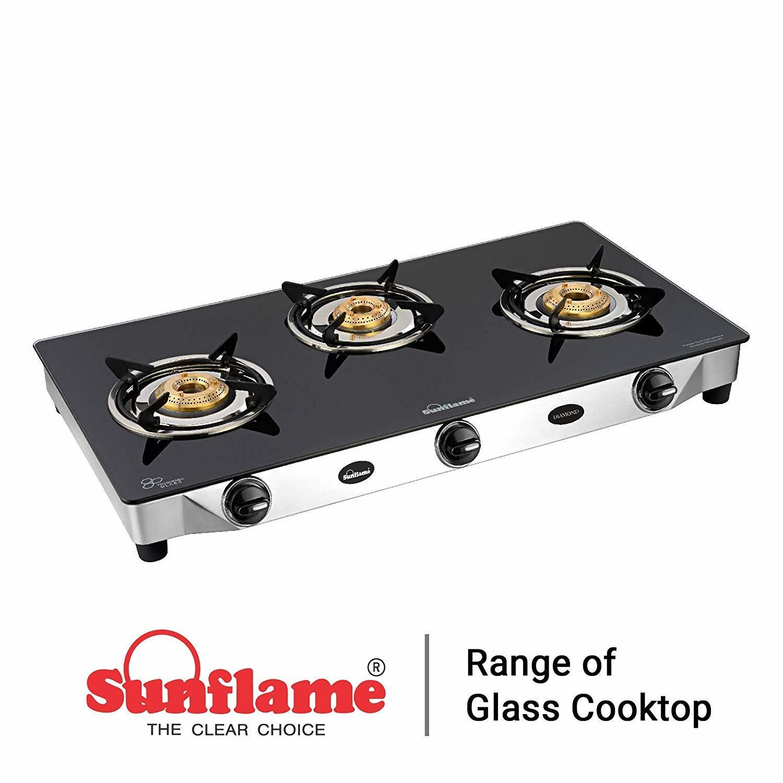 Sunflame Diamond Glass Top 3 Burner Gas Stove