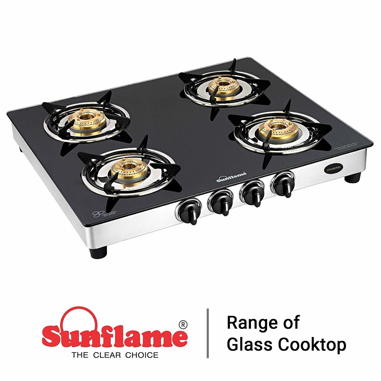 Sunflame Diamond Glass Top 4 Burner Gas Stove