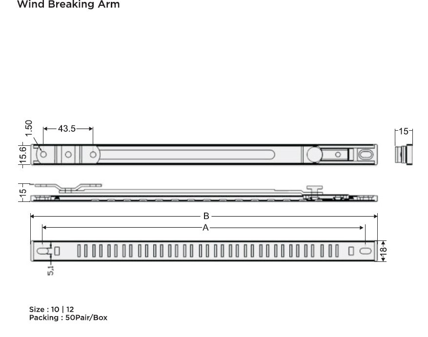 Friction Stay Hinges and Wind Breaking Arm