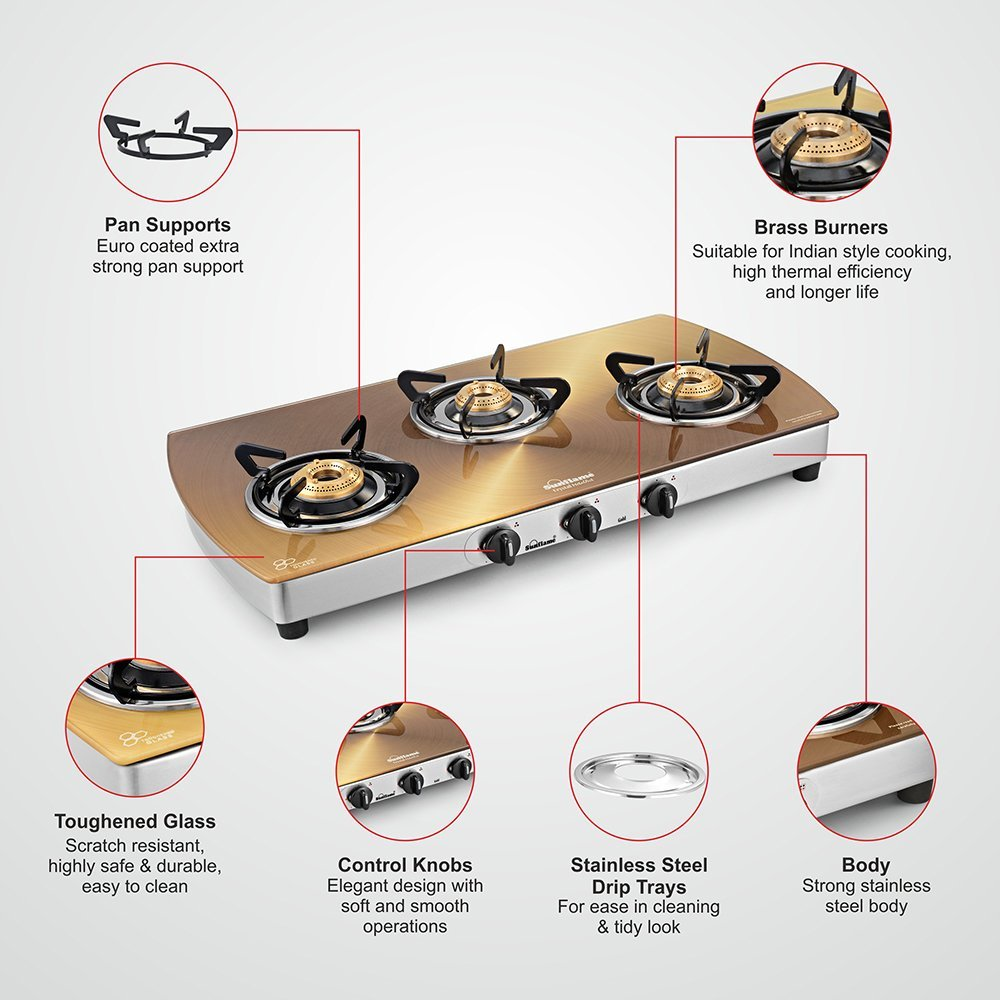 Sunflame Crystal Stainless Steel 3 Burner Gas Stove, Gold