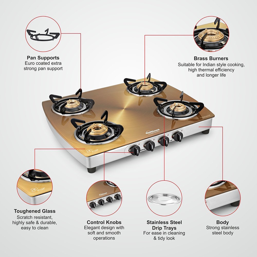Sunflame Crystal Stainless Steel 4 Burner Gas Stove, Gold