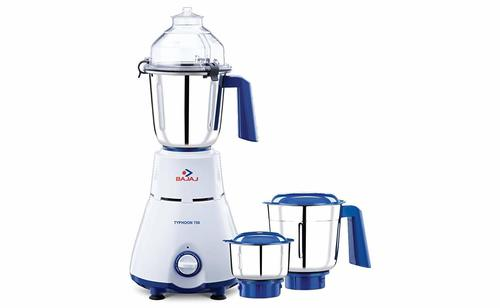 Bajaj Typhoon 750-Watt Mixer Grinder with 3 Jars (White/Turquoise)