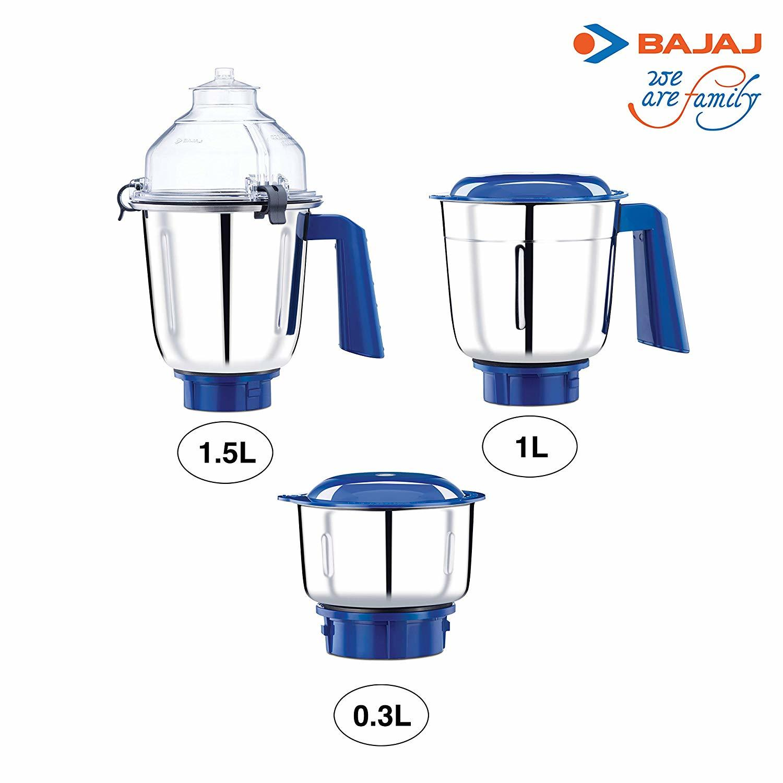 Bajaj Typhoon 750-Watt Mixer Grinder with 3 Jars (White/Turquoise)
