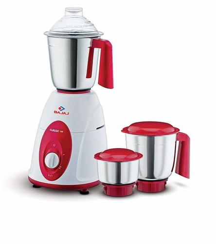 Bajaj Classic 750-Watt Mixer Grinder with 3 Jars (White and Maroon)
