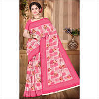 Ladies Printed Pink Saree