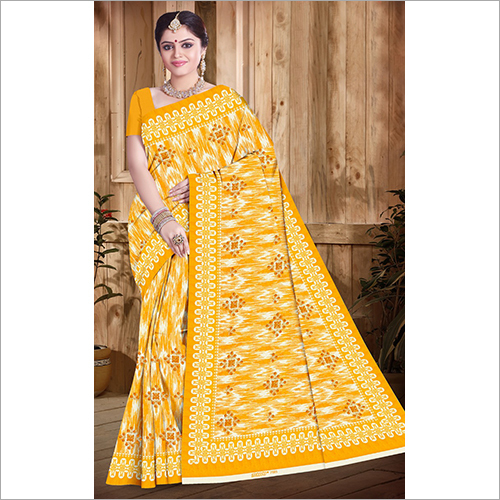 Ladies Printed Yellow Saree
