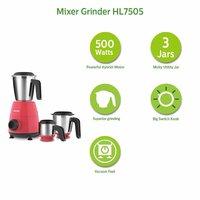 Philips HL7505/02 500-Watt Mixer Grinder with 3 Jars (Red)- Dry jar, Chutney and Wet jar