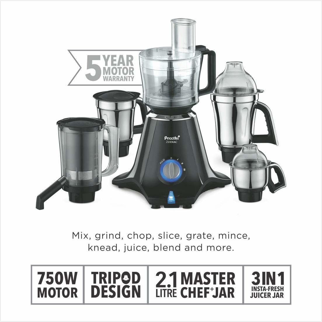 Preethi Zodiac MG 218 750-Watt Mixer Grinder with 5 Jars (Black/Light Grey)
