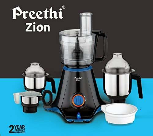 Preethi Zion MG-227 750-Watt Mixer Grinder with 4 Jars (Black)