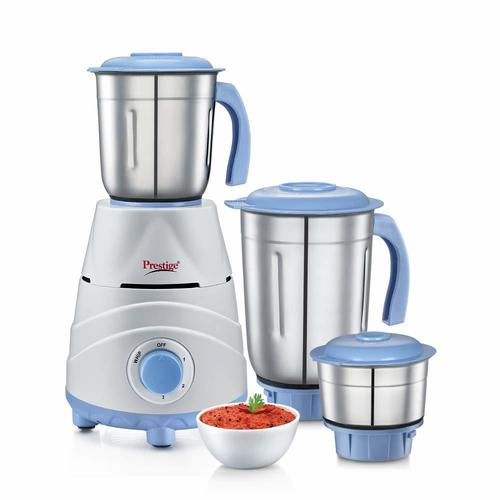 Prestige Tez (550 Watt) Mixer Grinder with 3 Stainless Steel Jars, White and Blue