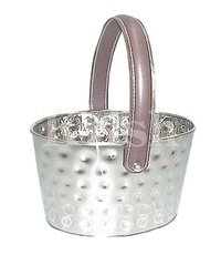 Oval  Bucket With Bolt Hammered & Leather Handle