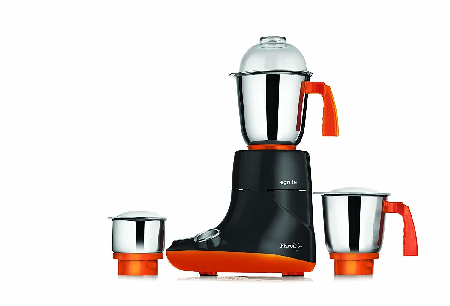 Pigeon by Stovekraft Egnite 750-Watt Mixer Grinder with 3 Jars (Black/Orange)
