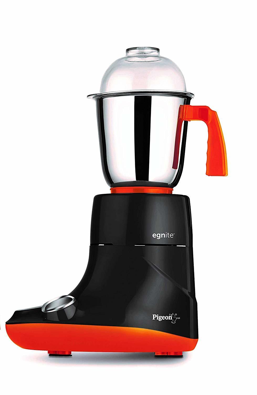 Pigeon by Stovekraft Egnite 750-Watt Mixer Grinder with 3 Jars (Black/Orange)