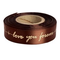 Double Satin Embossed Love You Forever - Coffee