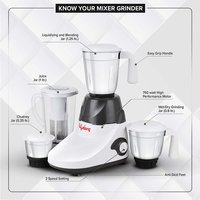 Lifelong 750 Watt Mixer Grinder with 3 Stainless Steel Jar + 1 Juicer Jar, White and Grey