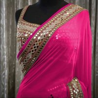 GEORGETTE MORROR WORK TAFFETA SILK SAREE