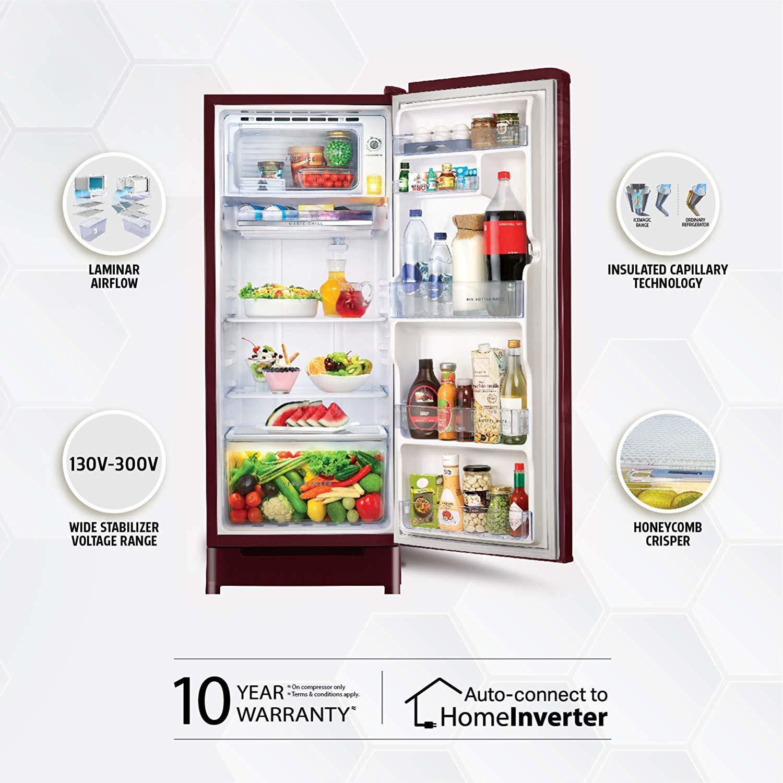 Whirlpool 190 L 4 Star ( 2019 ) Direct-Cool Single-Door Refrigerator (205 IMPC ROY 4S WINE IRIS-E, Wine Iris)