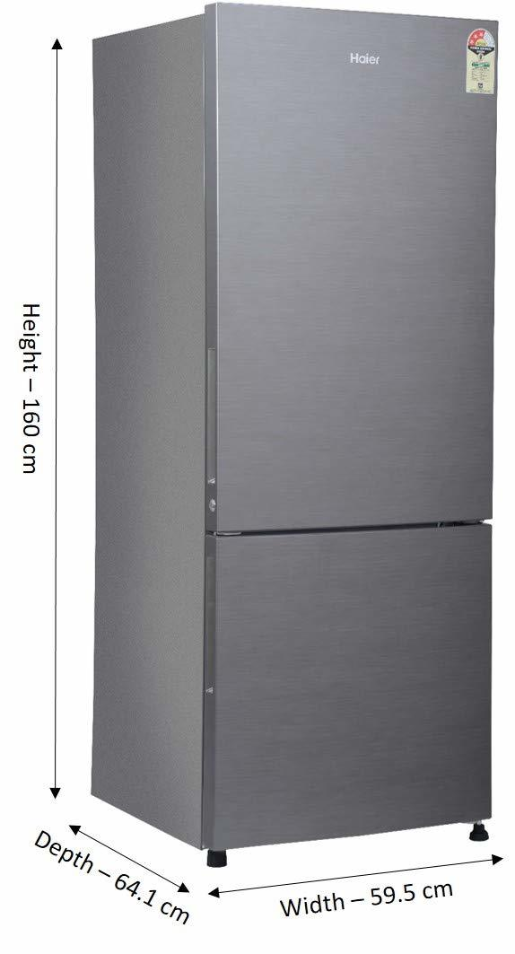 Haier 320 L 3 Star ( 2019 ) Frost Free Double Door Refrigerator(HRB-3404BS-R/HRB-3404BS-E, Brushline silver, Bottom Freezer)
