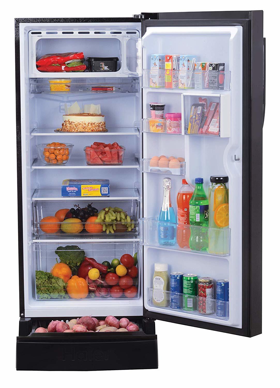 Haier 195 L 5 Star ( 2019 ) Direct-Cool Single Door Refrigerator (HRD-1955PKB-E, Black Blossom)