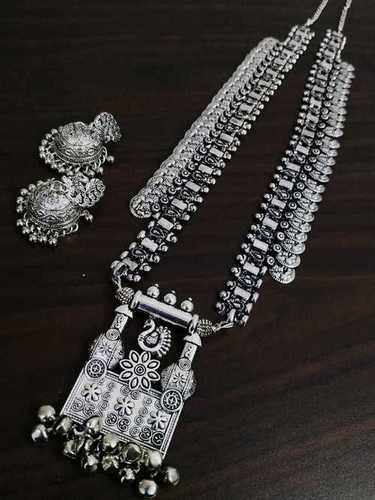 Long Oxidised Coin Temple Necklace Sets